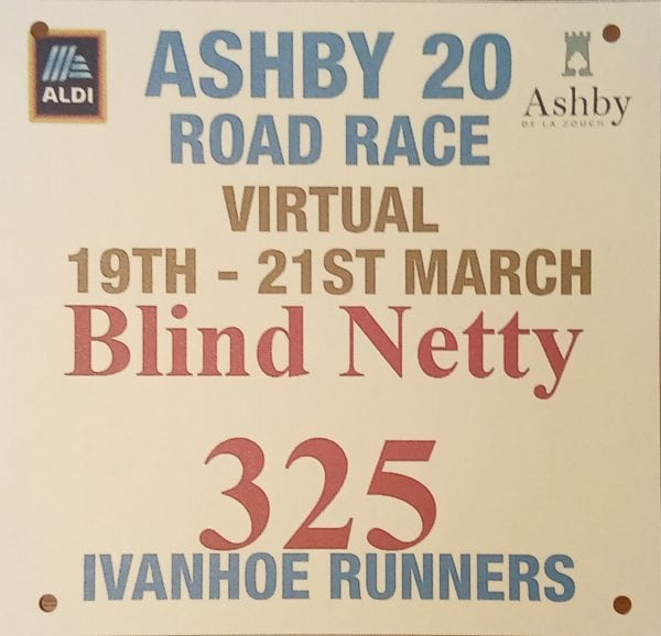 My customised virtual Ashby 20 race number
